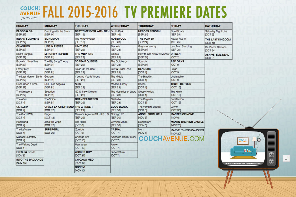 Fall TV 2015 Schedule BlogN